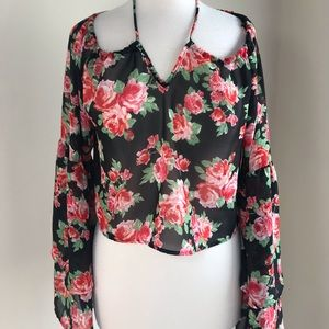 🌹Free Press Floral Cropped Long Sleeve Blouse XS